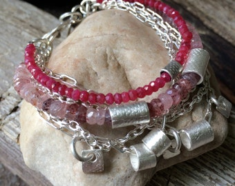 Ruby Bracelet, Ancient Bracelet, Multi-Strand Bracelet, Strawberry Quartz, Charm Bracelet, Artisan Sterling Bracelet