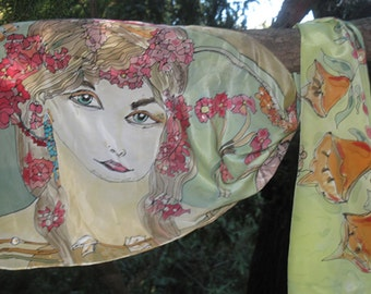 Exclusive silk scarf hand painted. 140 x 45 cm