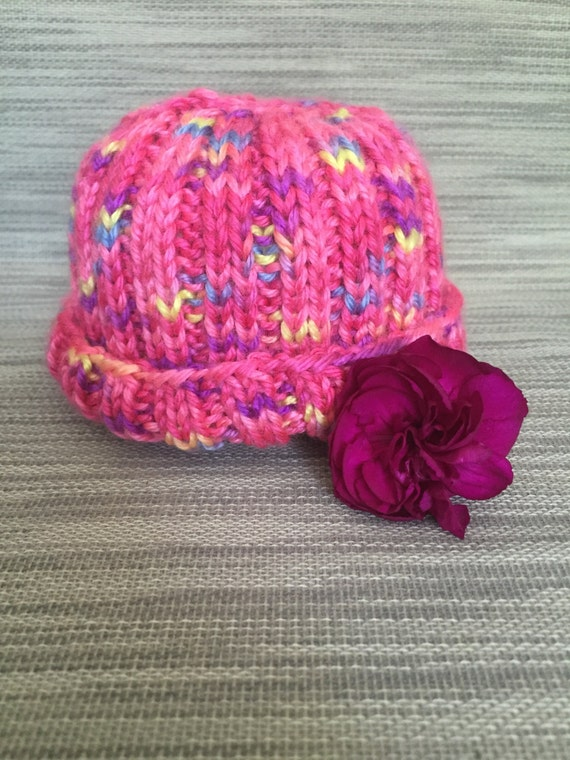 Hand knit Newborn Hospital Baby Hat - bright, fun, modern