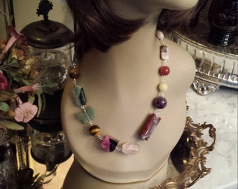 assorted natural semi precious stone necklace designed by petronellagdesigns