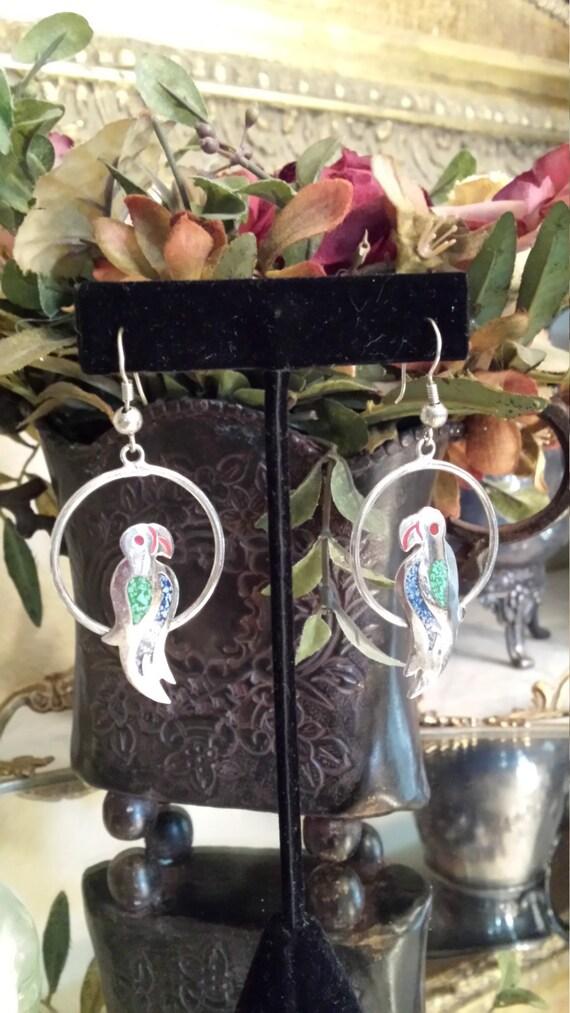 Sterling silver vintage inlaid parrot earrings