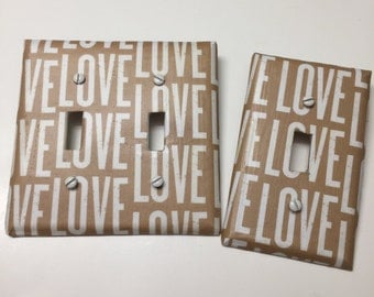 LOVE white tan kraft recycle paper, CUSTOM ORDER,light plate cover,light switch plate, outlet cover, outlet plate, home decor, wall art