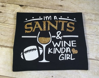 Saints & Wine Girl Adult T-Shirt Black and Gold Glitter Football New Orleans Louisiana Southern NOLA