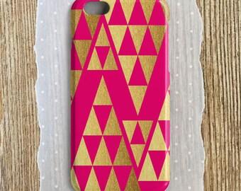 Hot Pink iPhone Case Hot Pink Samsung Case Gold iPhone Gold Samsung  Neon Pink Gold Foil Faux Gold iPhone 6S Plus Case Gold iPhone SE