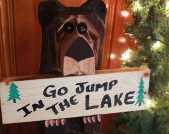 """Chainsaw Carved Bear 15"""" with 3 signs"""