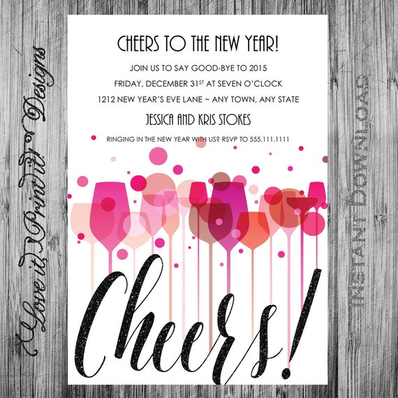 new year 39 s eve party invitation diy template cheers new. Black Bedroom Furniture Sets. Home Design Ideas