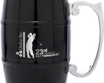 17 oz. Stainless Steel Barrel Mug, barrel mug, engraved barrel mug, engraved beer mug, personalized barrel mug, laser engraved mug