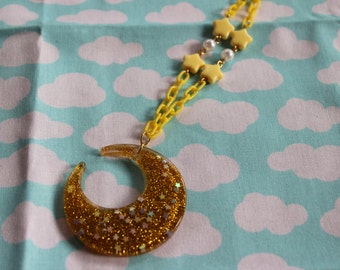 Fairy Kei Yellow Moon Necklace