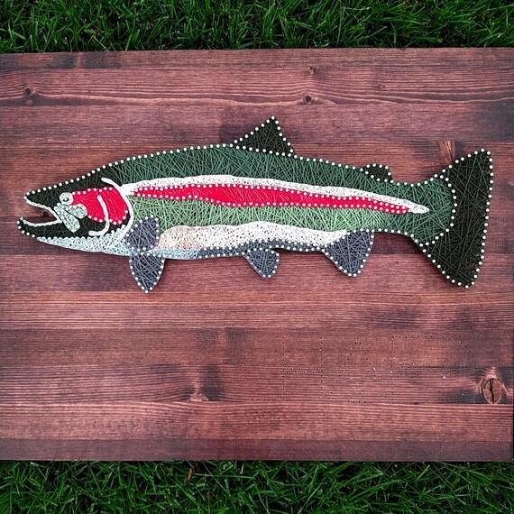 Steelhead fish string and nail art fishing art flies for Fish string art
