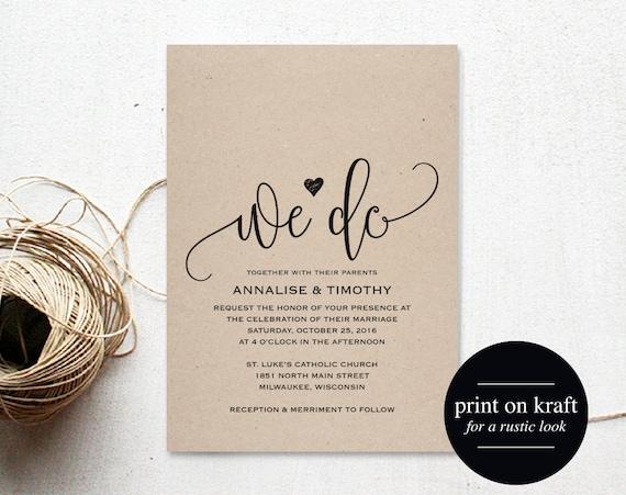 When Do You Send Invitations For A Wedding: We Do Wedding Invitation Template Rustic Kraft Invitation