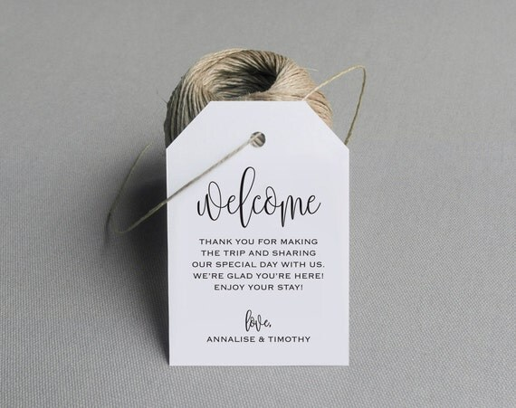 Wedding Labels For Gift Bags: Welcome Wedding Tag Wedding Welcome Bag Tag By