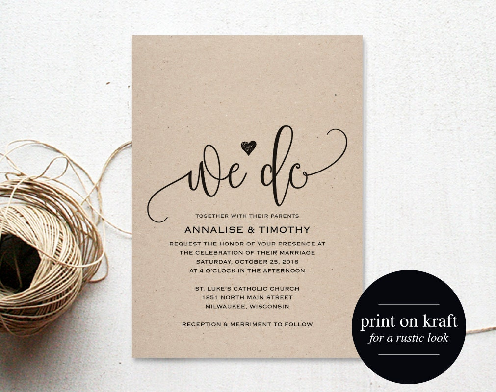 How Do You Make Your Own Wedding Invitations: We Do Wedding Invitation Template Rustic Kraft Invitation