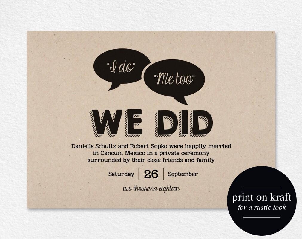 Elopement Wedding Invitations: Elopement Announcement Just Married Wedding Announcement We
