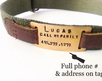 Dog Collar w/ custom brass ID tag affixed by leather on 4 color options • Elegantly natural & minimal • Safari style • flat • jingle free