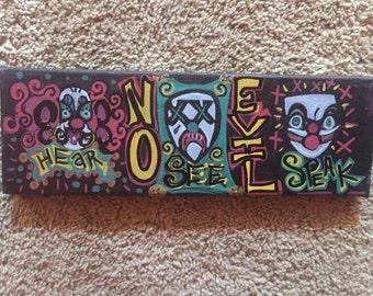 """Hear, Speak & See No Evil, 12 x 4"""" canvas"""