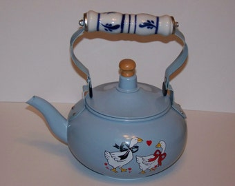 Blue Metal Teapot with Glass Handle