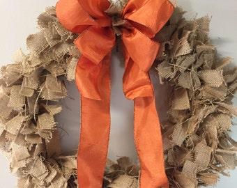 Burlap Wreath With Orange Bow