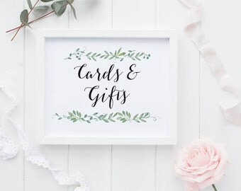 Cards and Gifts Printable Wedding Signs Wedding Reception Sign - Reception Printable Cards and Gifts Signage - (Item code: P124)