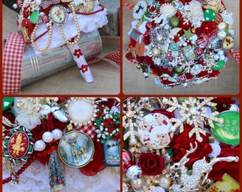 Classic Christmas Brooch Bouquet
