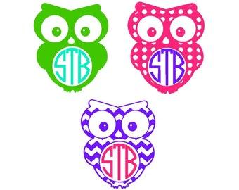 Owl Decal | Owl Monogram Decal | Owl Car Sticker | Owl Car Decal | Owl Laptop Sticker