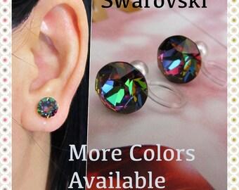 8mm Swarovski Crystal Clip on Earrings |C1S| Peacock Rhinestone Clip On Earrings Stud Clip-ons Non Pierced Magnetic Earrings Alternative