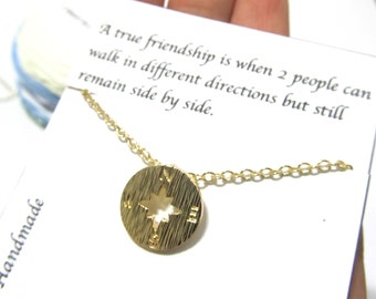 Friendship quote gift, compass necklace, A1, Friendship necklace, Best friend gift, best friend necklace, gift for friend, birthday gift