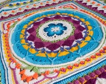 Hand crochet blanket, boho hippie rainbow blanket, colorful blanket, crochet mandala, Sophie's Universe blanket