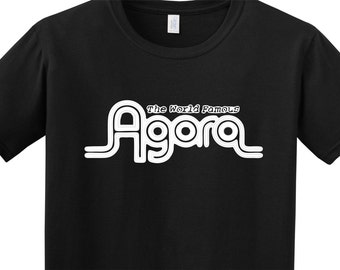 The world famous AGORA Club Cleveland Dallas atlanta Tee Shirt FREE SHIPPING guitar bass drummer Punk Musician