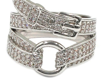 Fashion buckle crystal silver ring