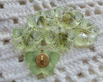 6 Modern Czech art glass buttons, vaseline glass butterfly with silver painted detail FREE SHIPPING