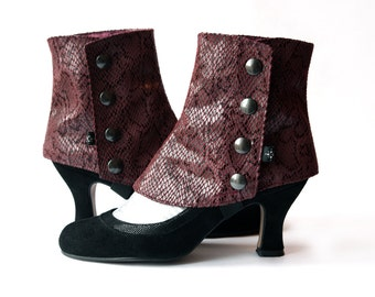 Short Spats Burgundy Snakeskin fabric Women's Spats for High Heels Shoes