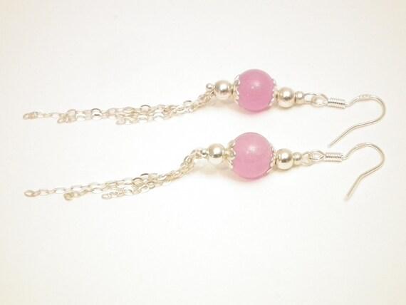 Pink jade & 925S Silver earrings