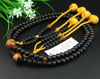 SGI Japanese Buddhist Nenju prayer beads, Kokutan wood Beads in Hokke Nichiren style Ojuzu, Free Shipping
