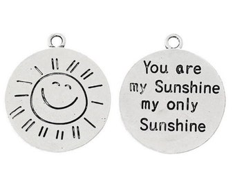 """Round """"You Are My Sunshine My Only Sunshine"""" Carved Charm Pendants 10 PCs"""