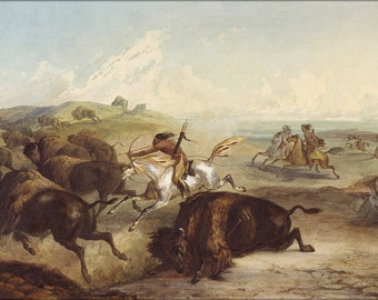 24x36 Poster . Karl Bodmer Native American Indians Hunting Bison Buffalo 1839