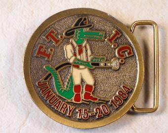 SALE!  FTIC Brass Gator Firefighter Belt Buckle 1984 Limited Edtion