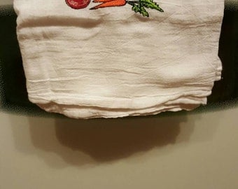 Flour sack embroidered kitchen towels