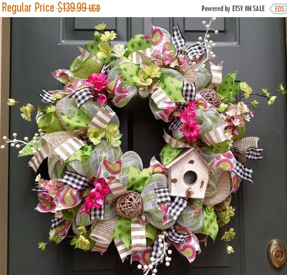 On Sale Bird House Wreath Spring Wreath Front By