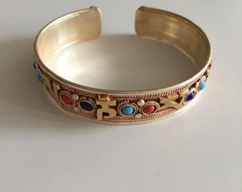 Beautiful handcrafted tibetan script boho adjustable bracelet