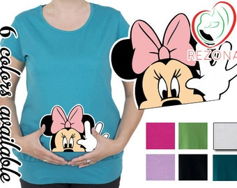 Waving Minnie Mouse, Maternity Clothing, Mickey Mouse Maternity Disney Shirt Pregnancy MATERNITY Shirt,Peekaboo, Peeking Minnie,Baby Peeking
