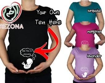 Custom Text- your own tex in the cloud- funny maternity tshirt for pregnant woman, Maternity Clothes, baby shower gift