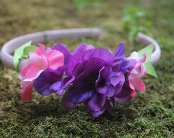 Little Girl's Purple Floral Headband