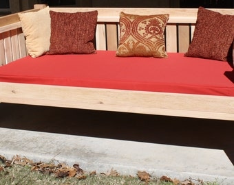 """Brand New Cedar Patio Daybed in Victorian style, Twin Size Bed with 5"""" Thick Outdoor Cushion - Free Shipping"""