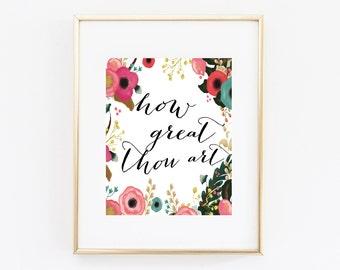 How Great Thou Art Printable Bible Verse Digital Download | Printable Art Wall Art Bedroom Decor Room Decor Farmhouse Decor Office Decor