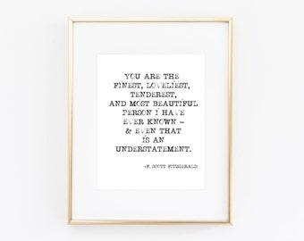 F Scott Fitzgerald Quote, F Scott Fitzgerald Print, Quote Art, Home Decor, Office Wall Art, Motivational Quote, Inspirational Quote, Print