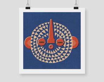"""Giclee Print """"BWA MASK"""" By Celeste Potter"""