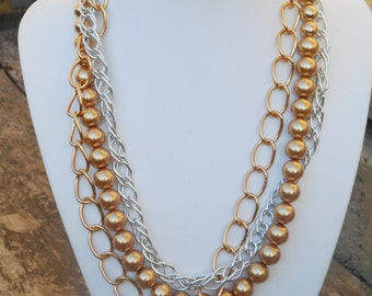 Gold & Silver Chain and Bead Necklace