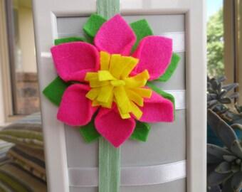 Felt Dahlia Flower Elastic Headband