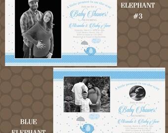 Blue Elephant Baby Shower Invitations With Photos Printable Uprint Digital Printed * 4 designs * READ DESCRIPTION