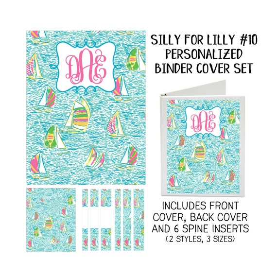 Silly for Lilly #10 Printable Binder Cover Set with Front & Back Covers and Spine inserts - Personalized- Dress up Your Three Ring Binder!